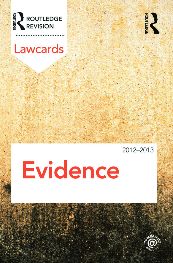 Evidence Lawcards 2012-2013: 7th Edition (Paperback) book cover