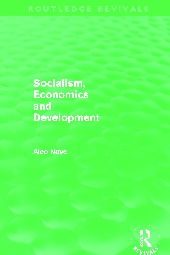 Socialism, Economics and Development (Routledge Revivals) (Paperback) book cover