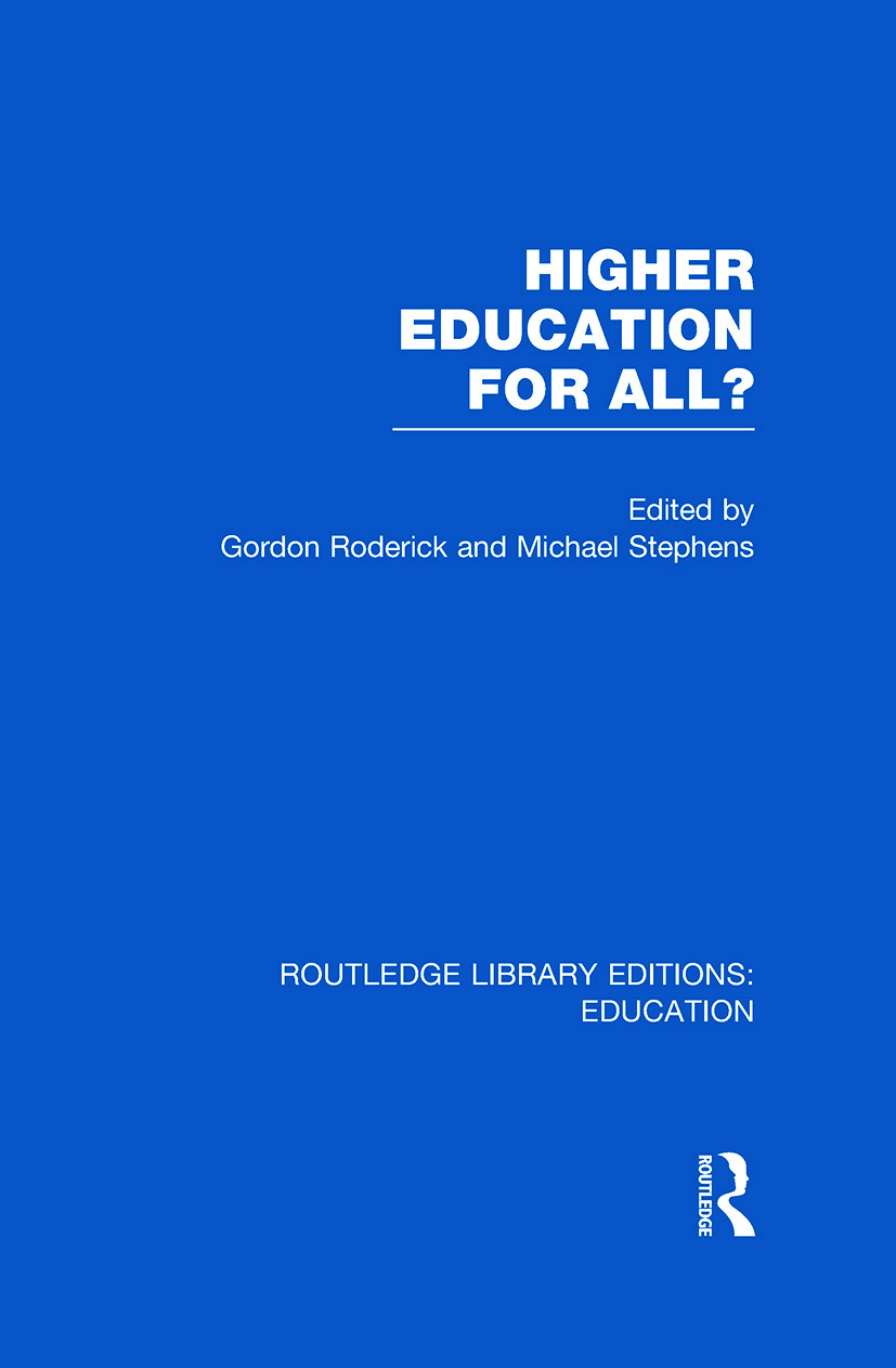 Higher Education for All? (RLE Edu G) (Hardback) book cover