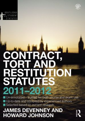 Contract, Tort and Restitution Statutes 2011-2012