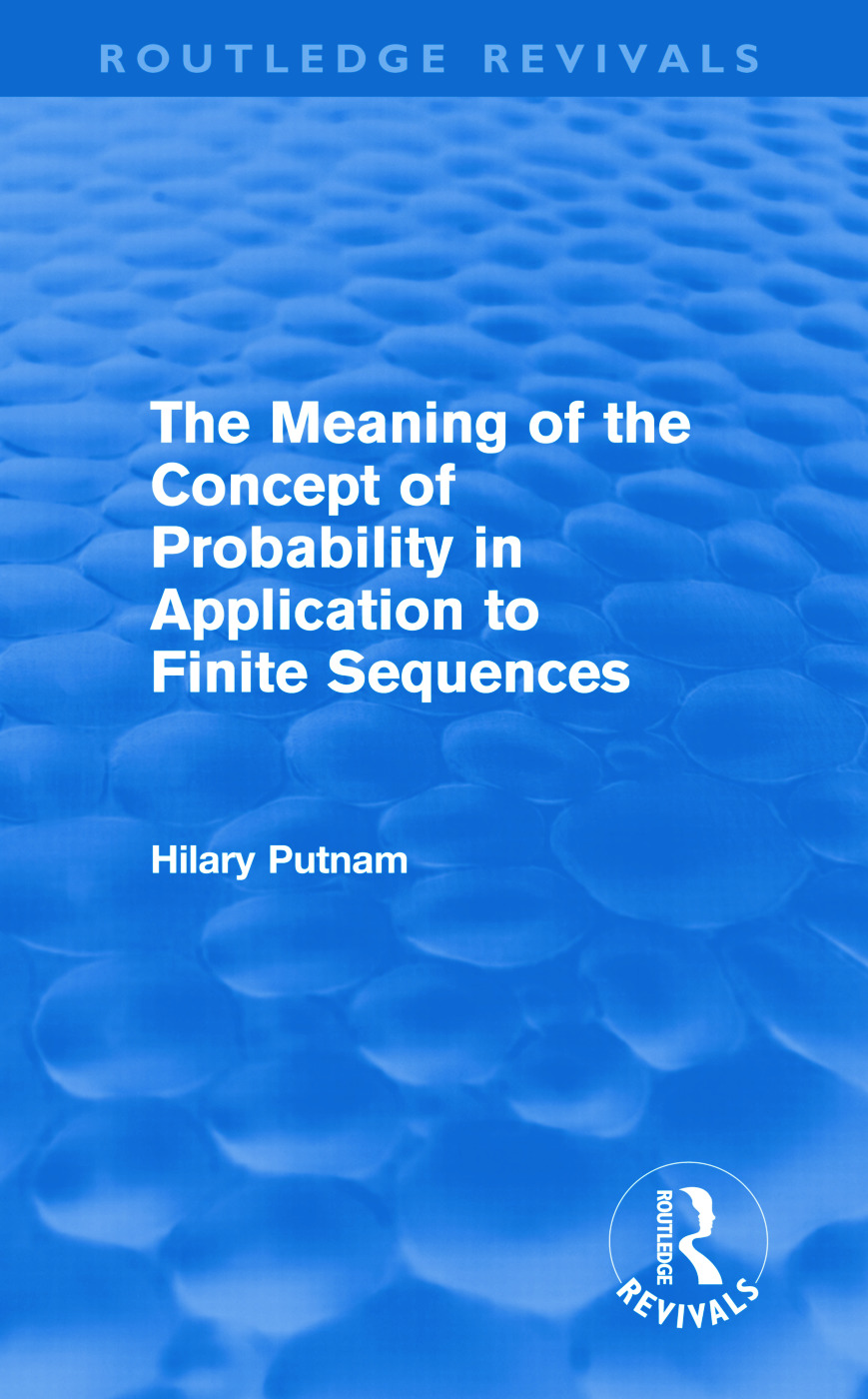 The Meaning of the Concept of Probability in Application to Finite Sequences (Routledge Revivals) (Hardback) book cover