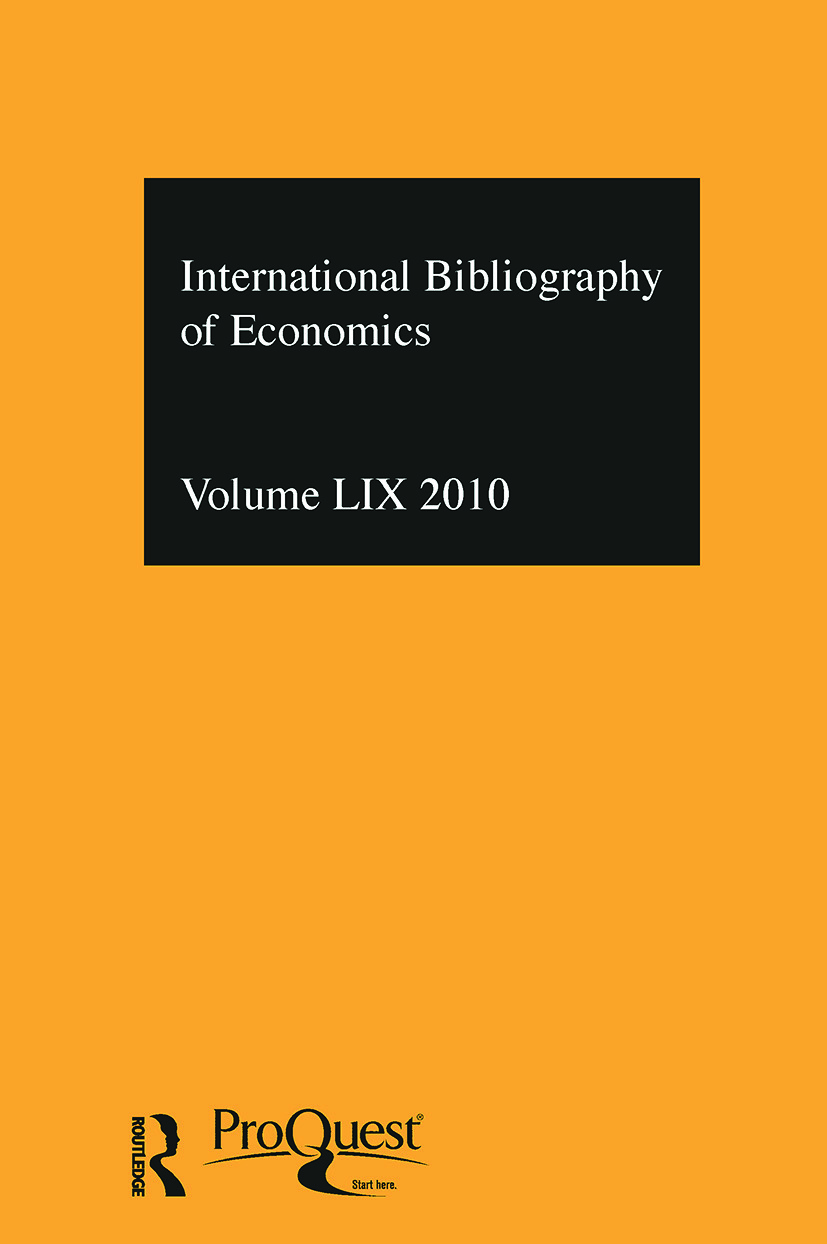 IBSS: Economics: 2010 Vol.59: International Bibliography of the Social Sciences (Hardback) book cover