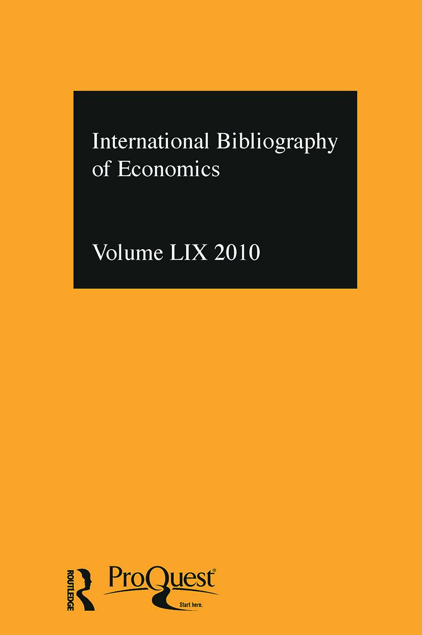 IBSS: Economics: 2010 Vol.59: International Bibliography of the Social Sciences, 1st Edition (Hardback) book cover