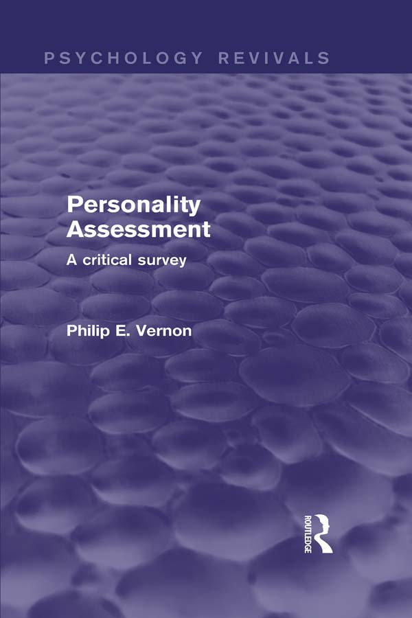 Personality Assessment: A Critical Survey, 1st Edition (Paperback) book cover