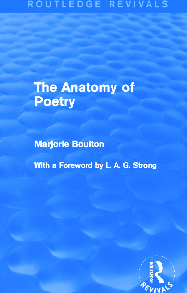 The Anatomy of Poetry (Routledge Revivals) book cover