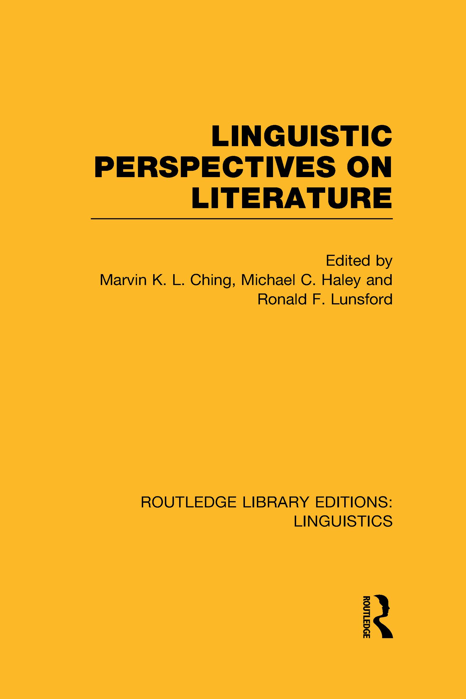 Linguistic Perspectives on Literature (RLE Linguistics C: Applied Linguistics): 1st Edition (Hardback) book cover