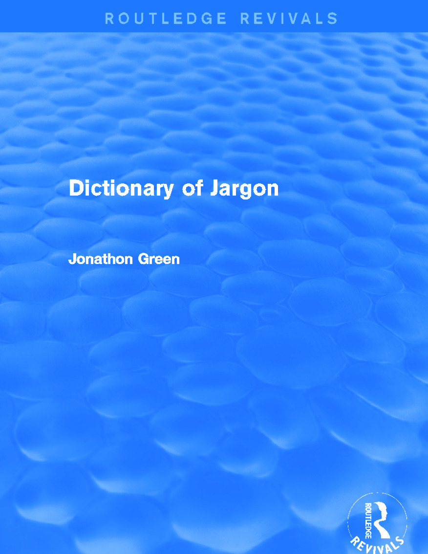 Dictionary of Jargon (Routledge Revivals) (Hardback) book cover
