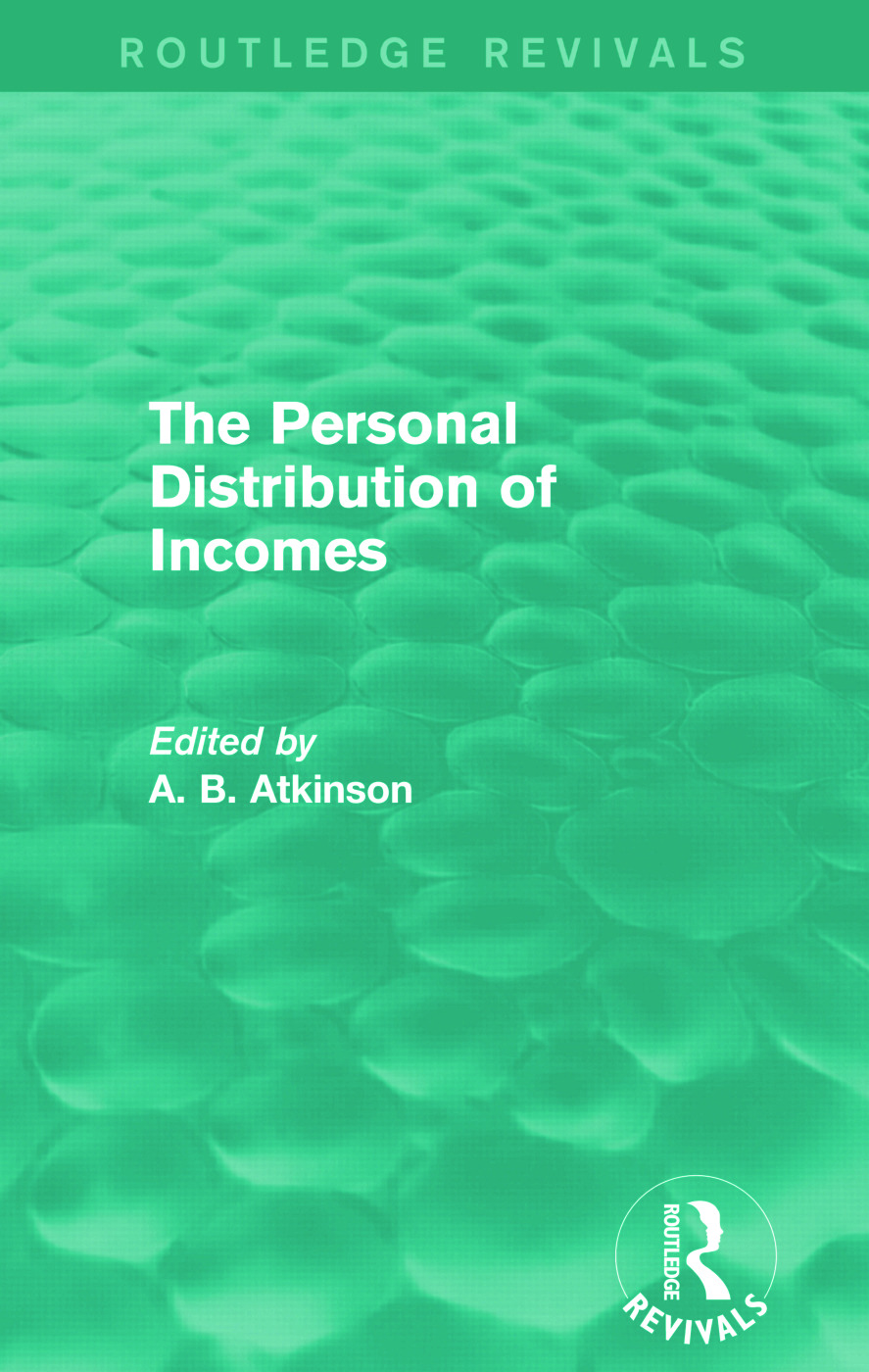 The Personal Distribution of Incomes (Routledge Revivals) book cover