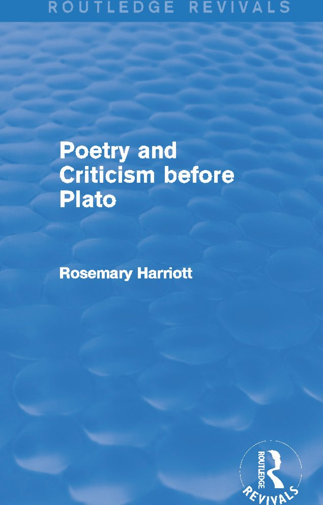 Poetry and Criticism before Plato (Routledge Revivals): 1st Edition (Paperback) book cover
