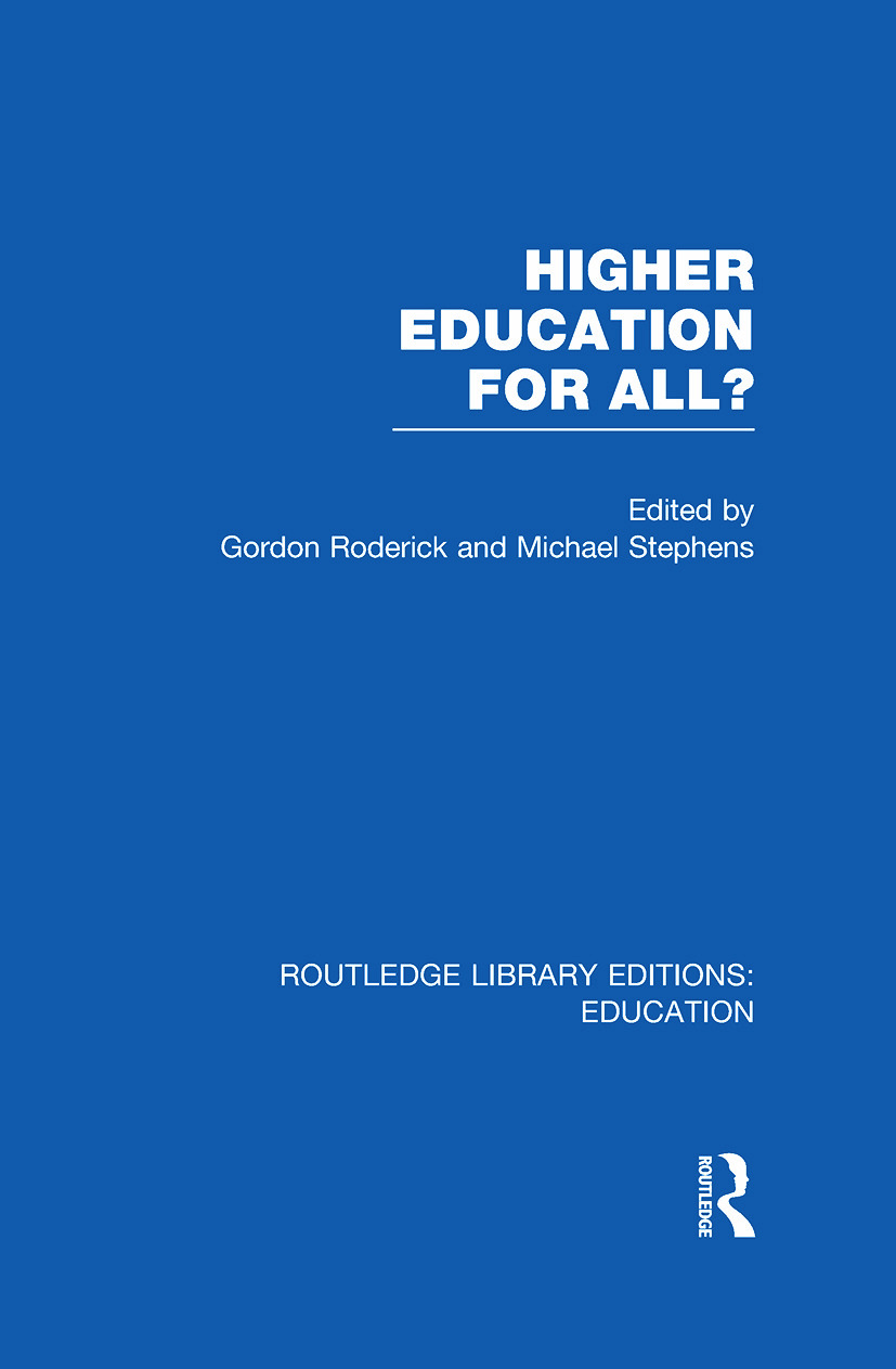 Higher Education for All? (RLE Edu G) book cover
