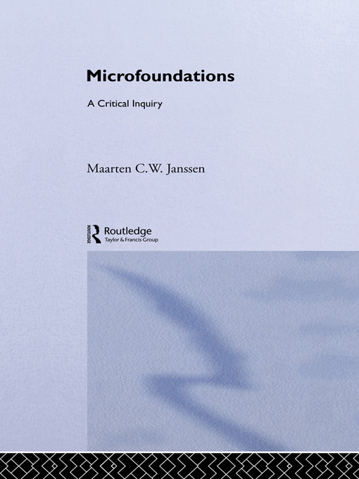 Microfoundations: A Critical Inquiry, 1st Edition (Paperback) book cover