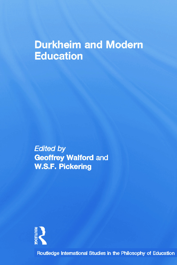Durkheim and Modern Education book cover