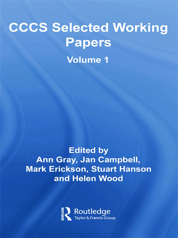 CCCS Selected Working Papers: Volume 1 (Paperback) book cover