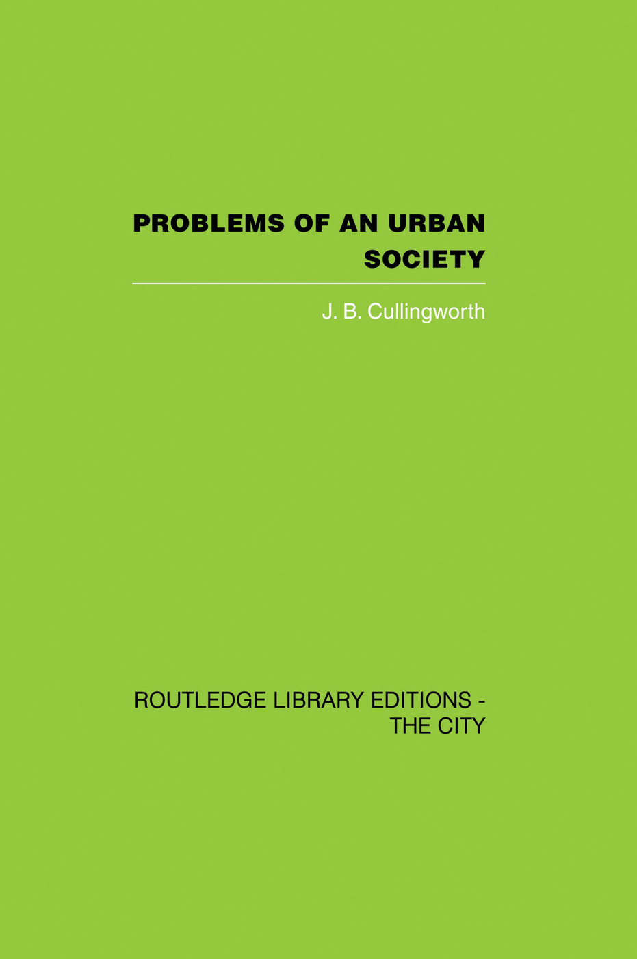Problems of an Urban Society