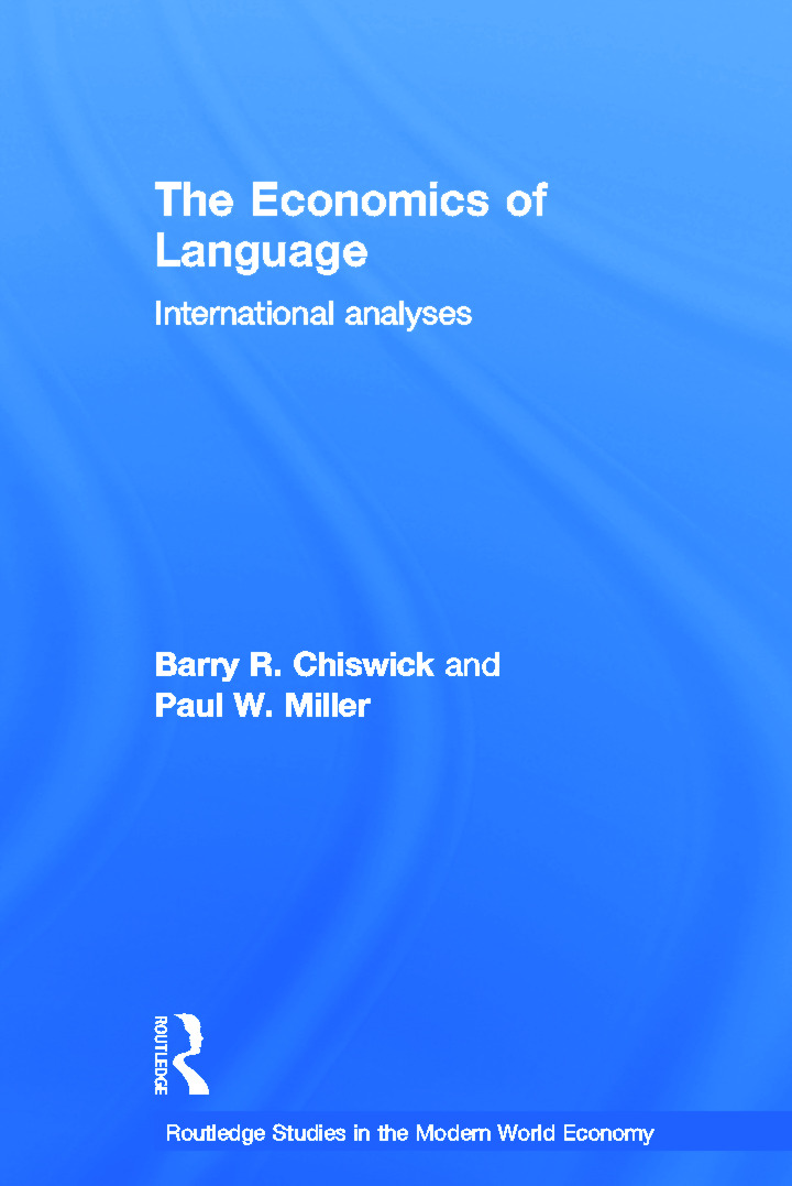 The Economics of Language: International Analyses (Hardback) book cover