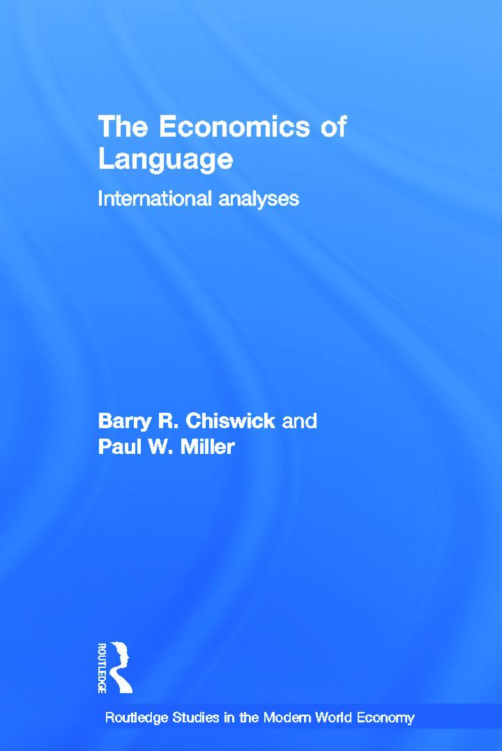 The Economics of Language: International Analyses (Hardback) book cover