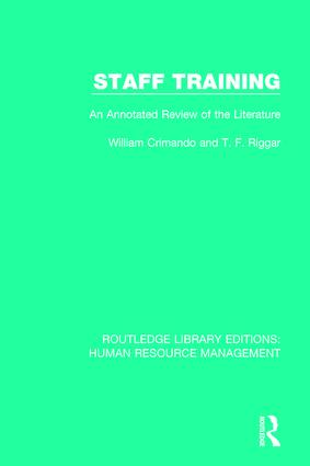 Staff Training: An Annotated Review of the Literature book cover