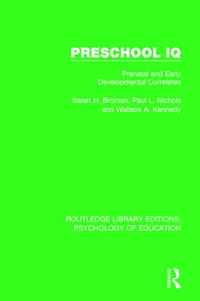 Preschool IQ: Prenatal and Early Developmental Correlates book cover