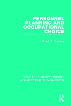 Personnel Planning and Occupational Choice book cover