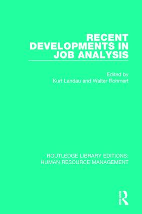 Recent Developments in Job Analysis: 1st Edition (Paperback) book cover