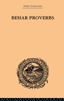 Behar Proverbs: 1st Edition (Paperback) book cover