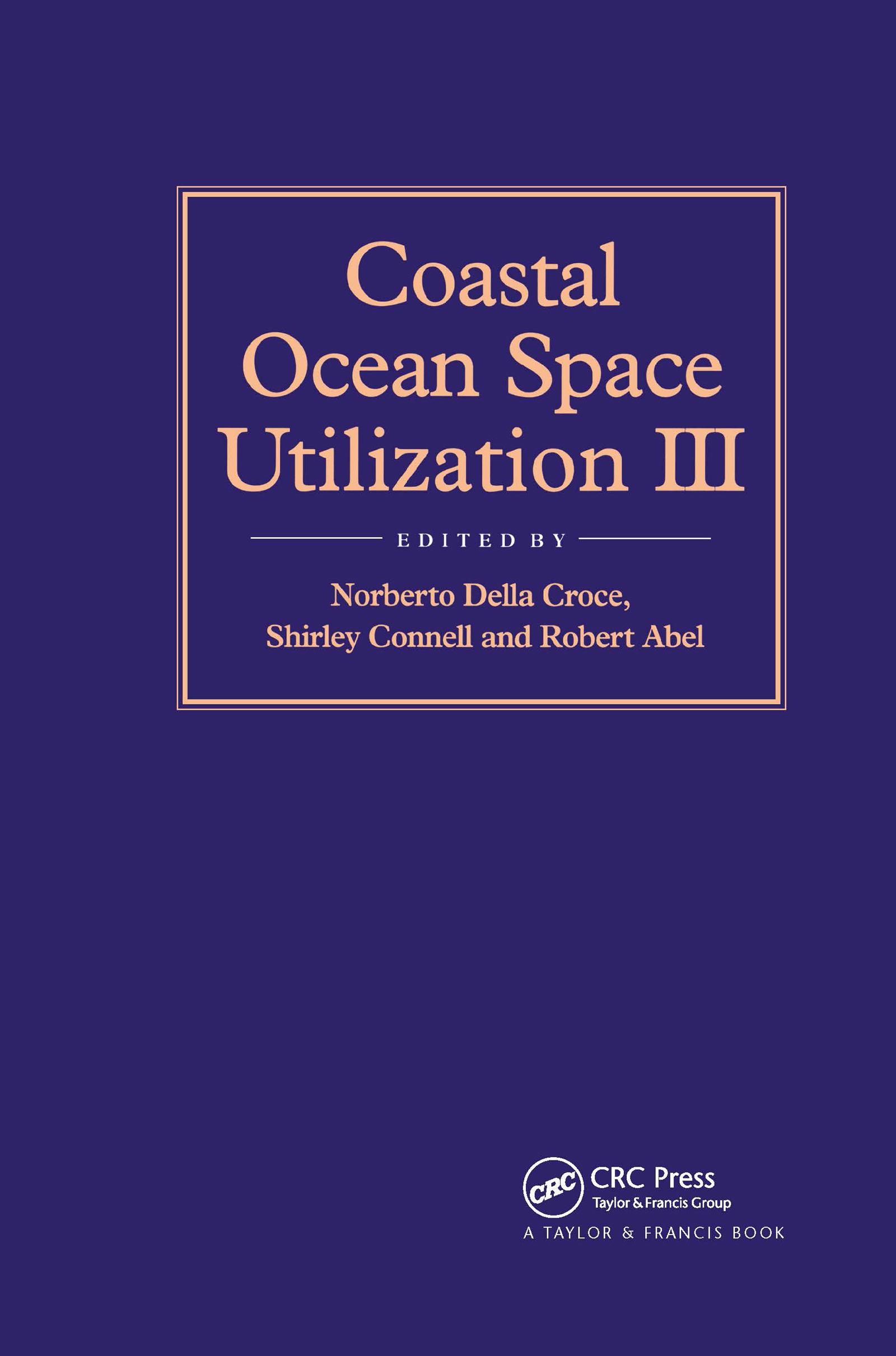 Coastal Ocean Space Utilization 3: 1st Edition (Hardback) book cover