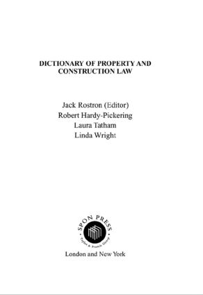 Dictionary of Property and Construction Law (Paperback) book cover