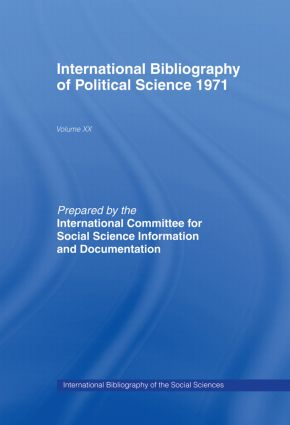 IBSS: Political Science: 1971 Volume 20: 1st Edition (Hardback) book cover