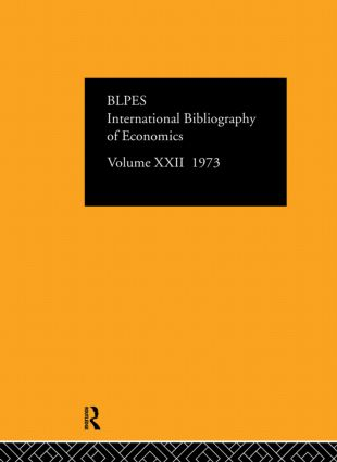 IBSS: Economics: 1973 Volume 22 book cover