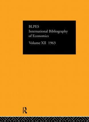 Intl Biblio Econom 1963 Vol 12: 1st Edition (Hardback) book cover
