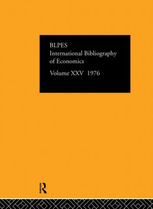 IBSS: Economics: 1976 Volume 25 book cover