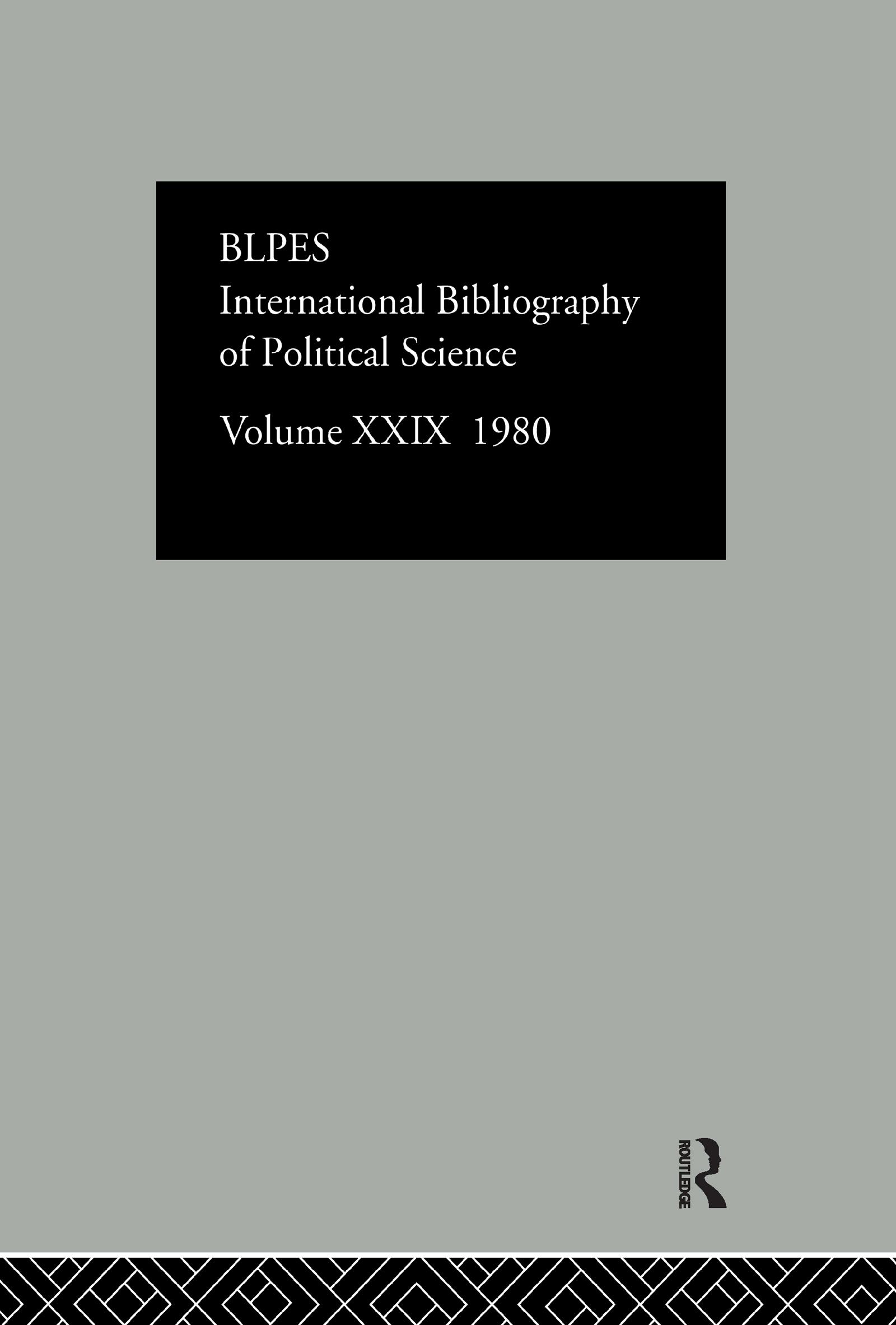 Ibss Poli Sci 29 1980: 1st Edition (Hardback) book cover