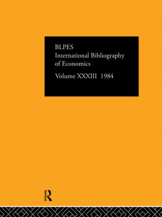 IBSS: Economics: 1984 Volume 33 book cover