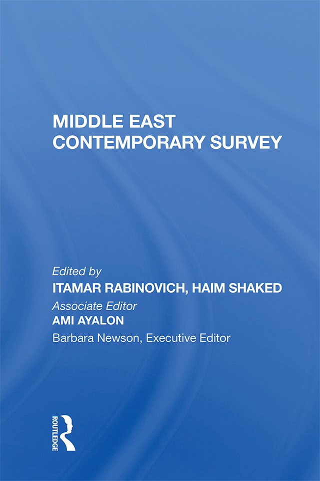 Middle East Contemporary Survey, Volume Xi, 1987 book cover