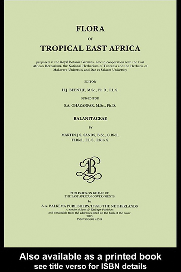 Flora of tropical East Africa - Balanitaceae (2003): 1st Edition (Hardback) book cover