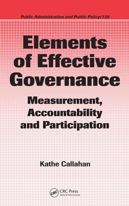 Elements of Effective Governance: Measurement, Accountability and Participation, 1st Edition (e-Book) book cover