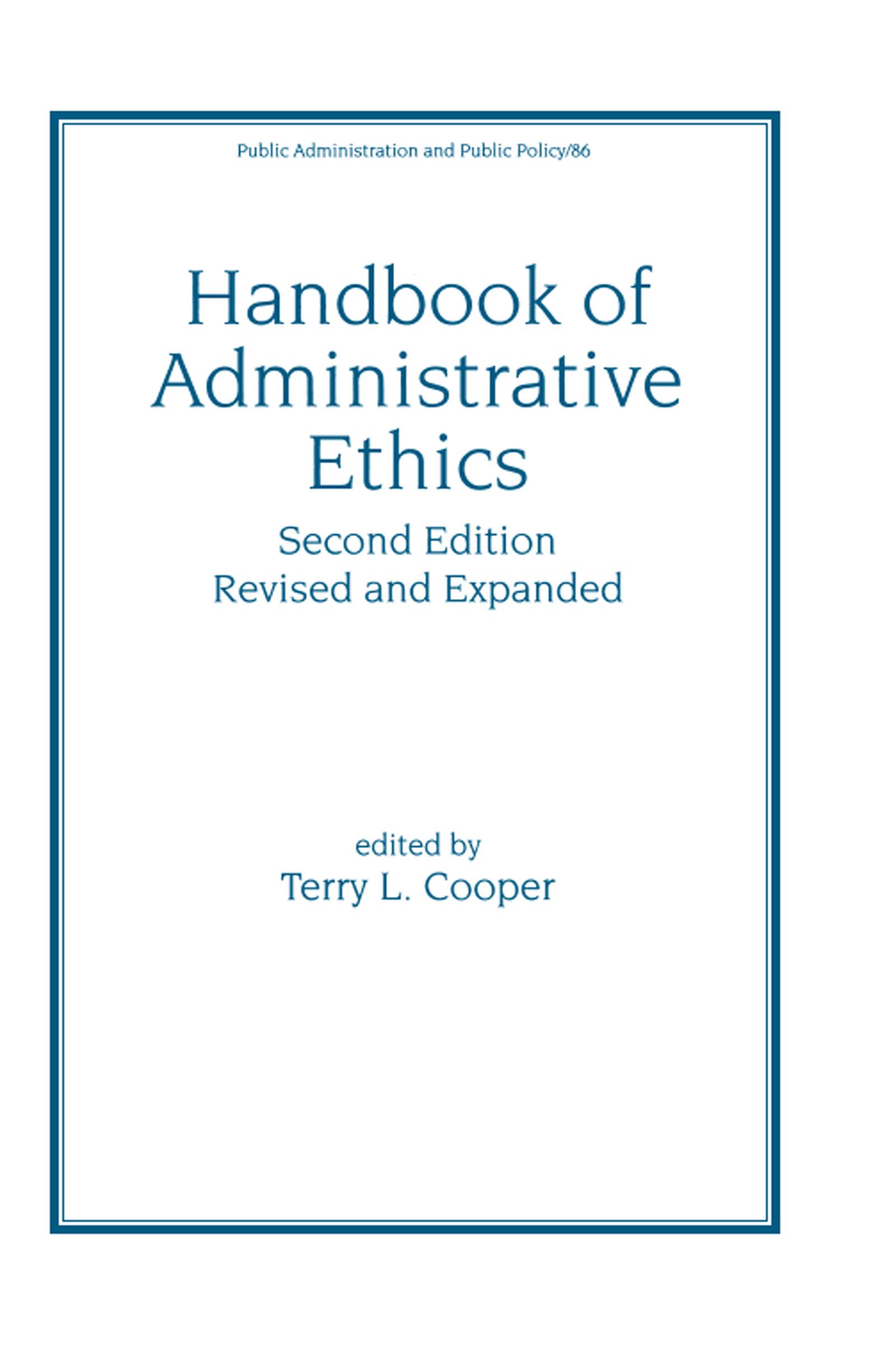 Handbook of Administrative Ethics book cover
