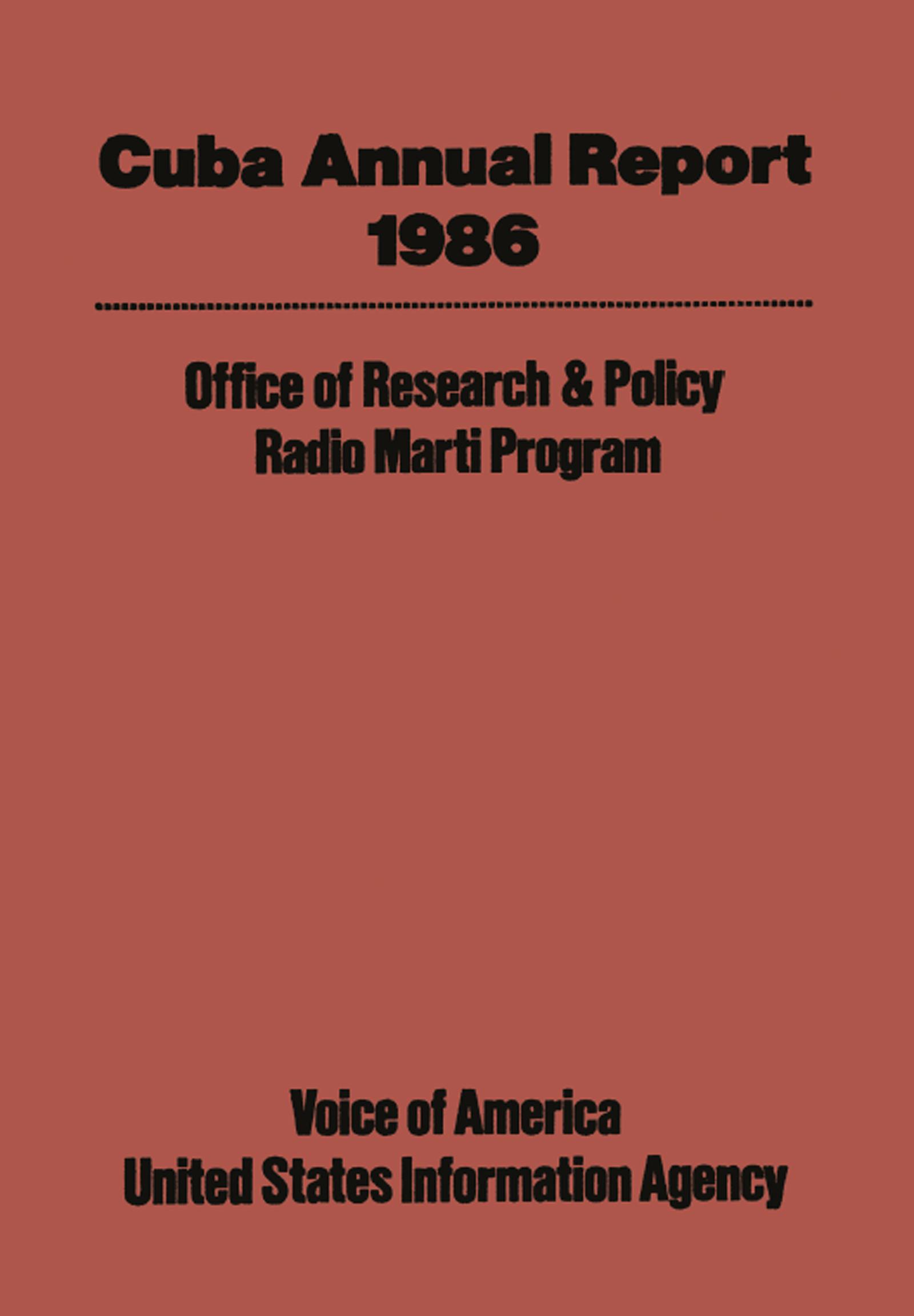 Cuba Annual Report: 1986 book cover