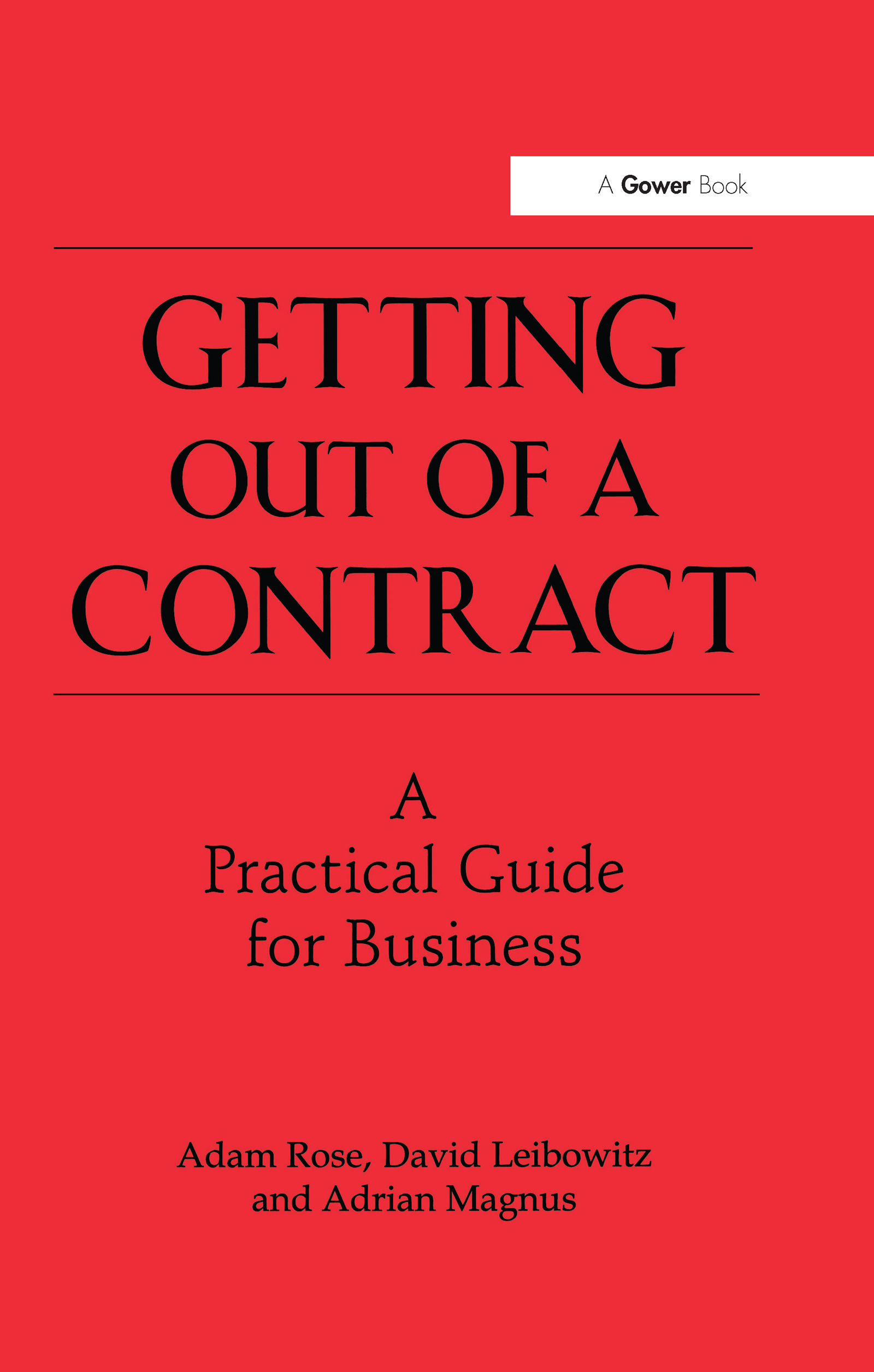 Getting Out of a Contract - A Practical Guide for Business book cover