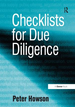 Checklists for Due Diligence: 1st Edition (Paperback) book cover