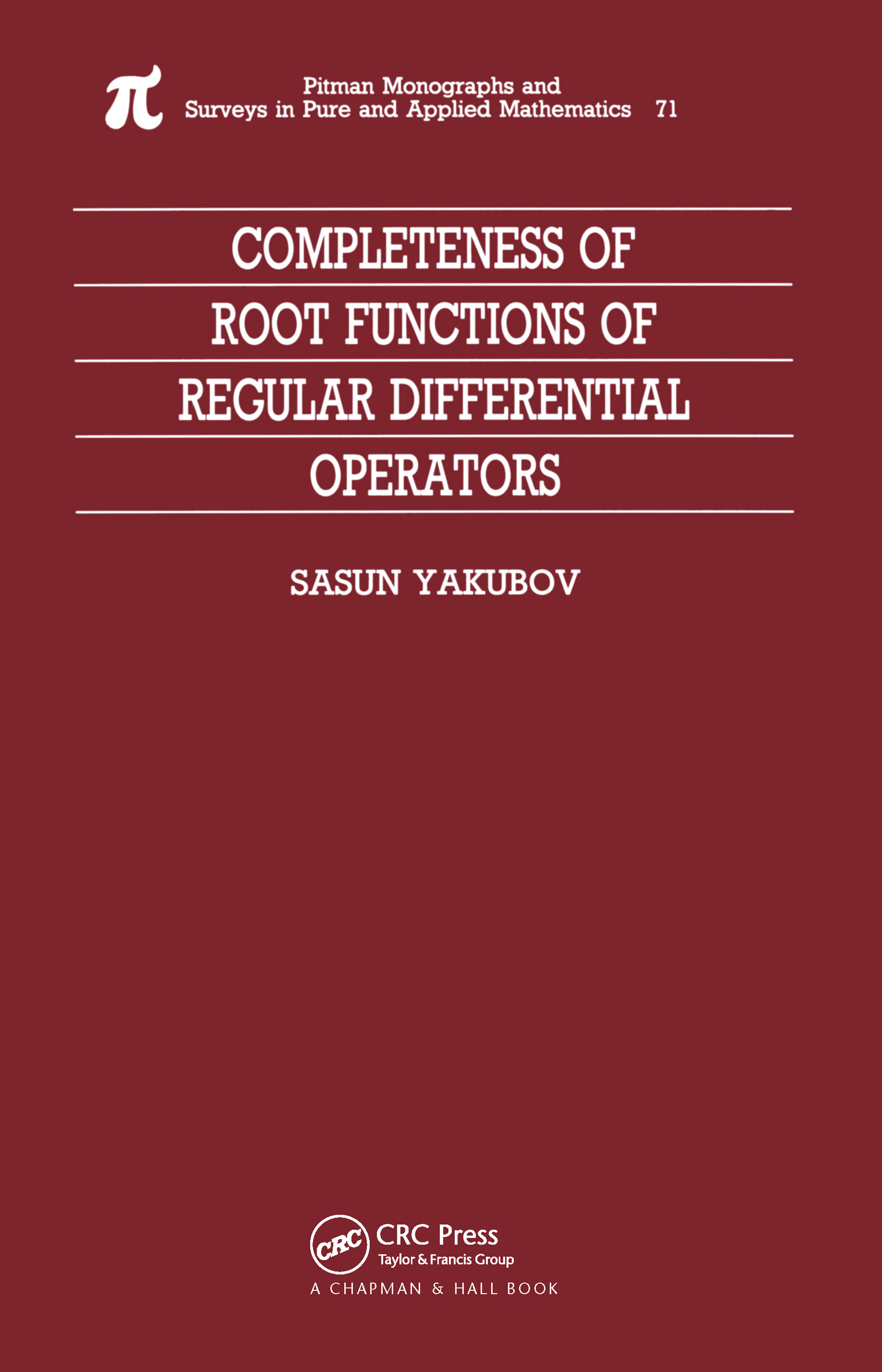 Completeness of Root Functions of Regular Differential Operators: 1st Edition (Hardback) book cover