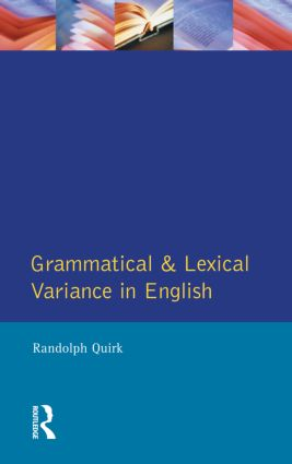 Grammatical and Lexical Variance in English: 1st Edition (Paperback) book cover