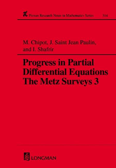 Progress in Partial Differential Equations: The Metz Surveys 3, 1st Edition (Hardback) book cover