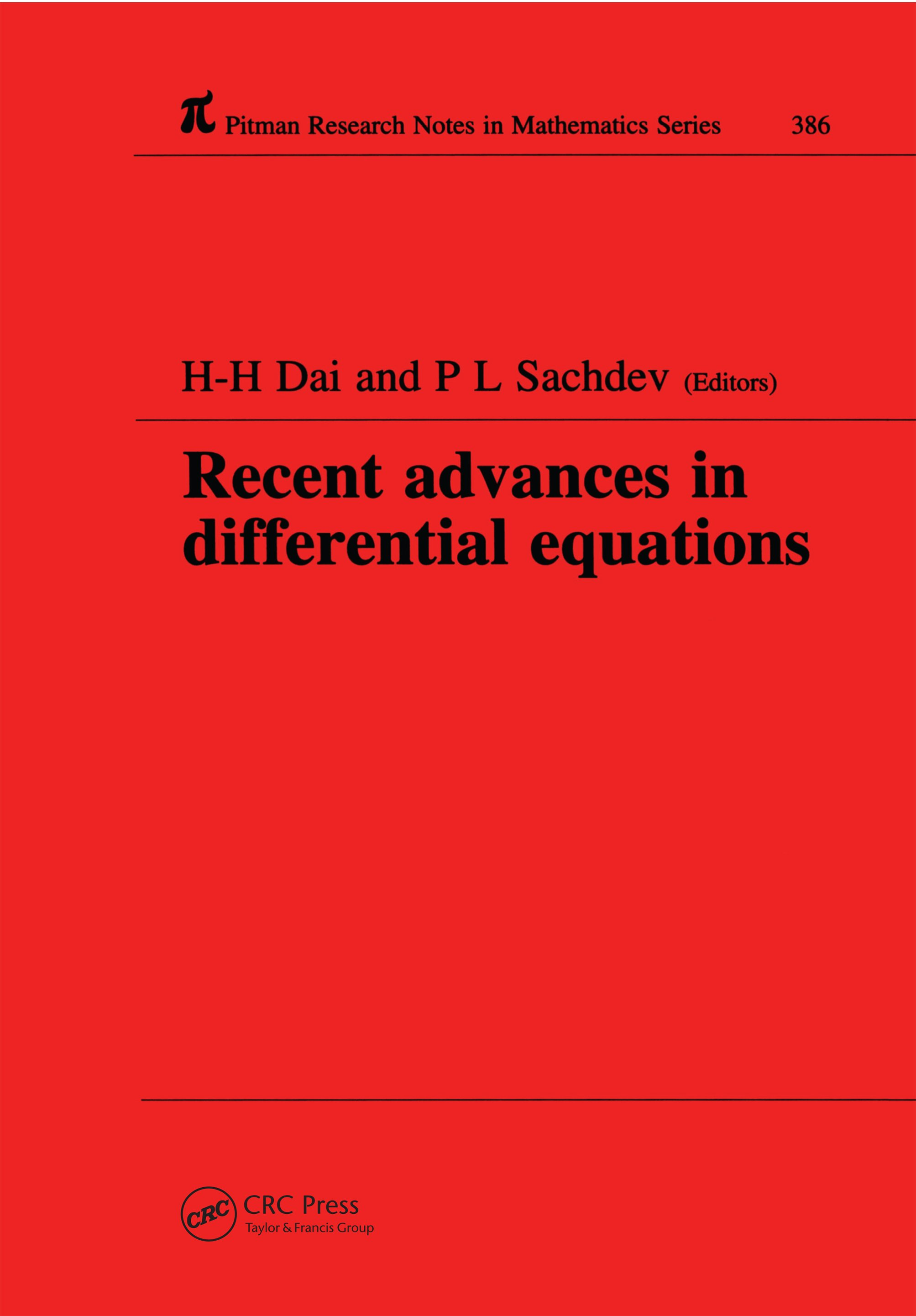 Recent Advances in Differential Equations book cover