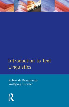 Introduction to Text Linguistics: 1st Edition (Paperback) book cover