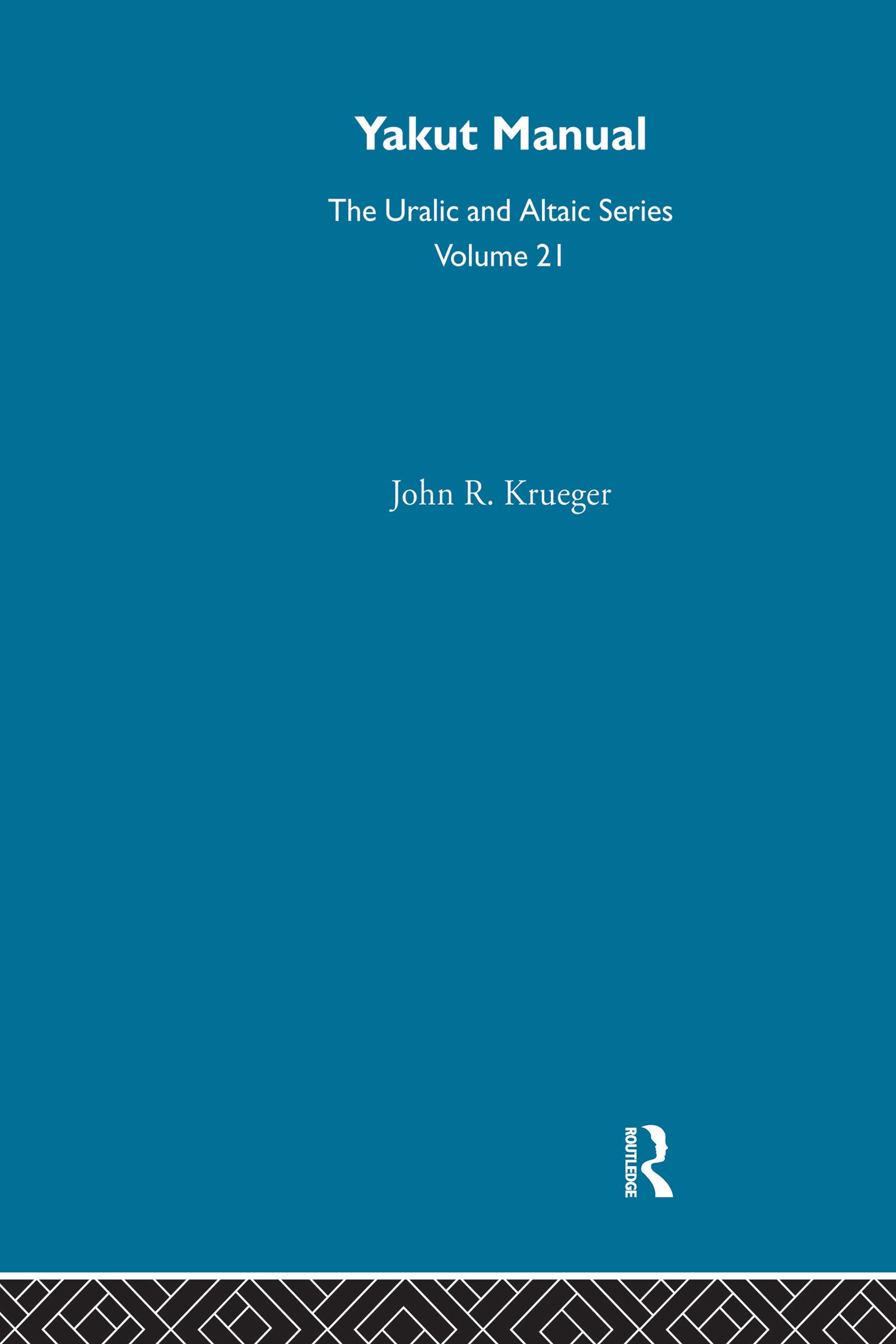 Yakut Manual: 1st Edition (Hardback) book cover