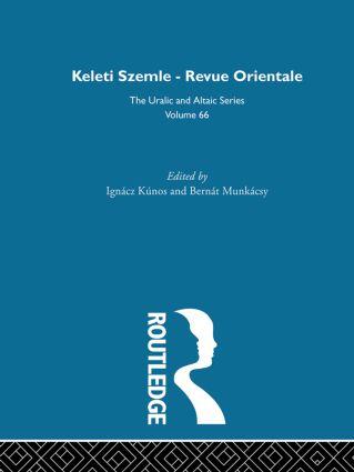 Keleti Szemle-Revue Orientale: 1st Edition (Hardback) book cover