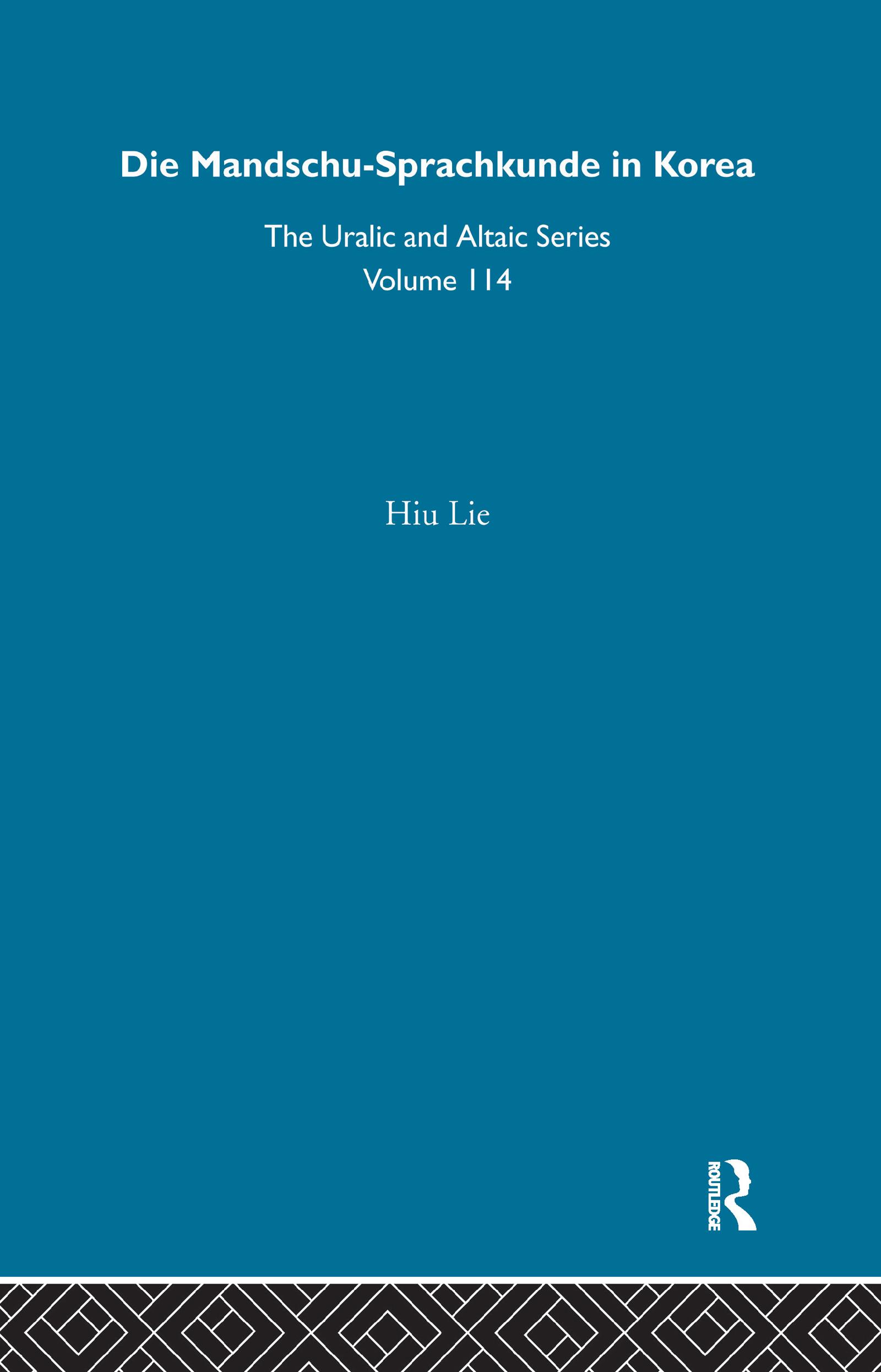 Die Mandschu-Sprachkunde in Korea: 1st Edition (Hardback) book cover