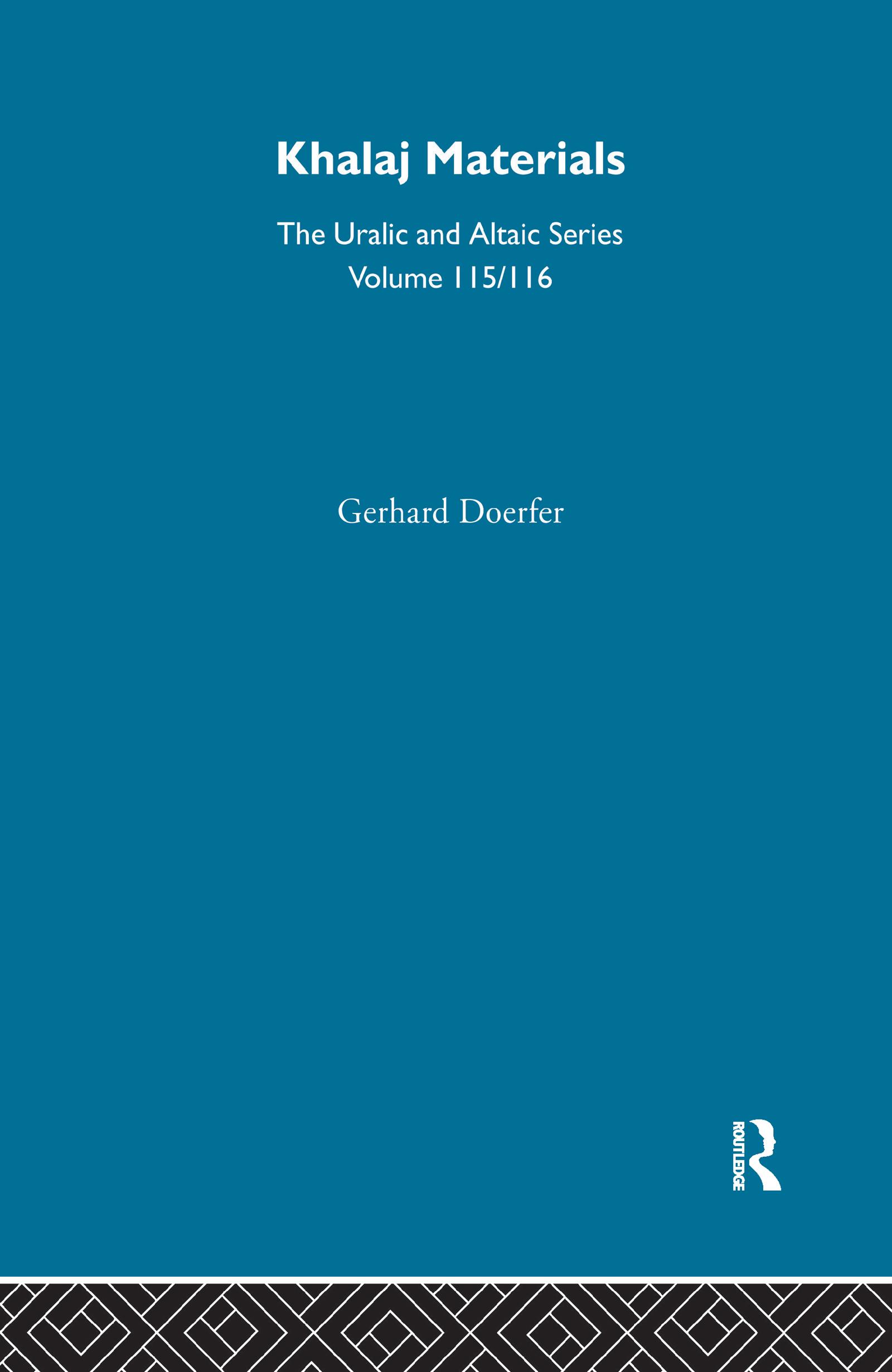 Khalaj Materials: 1st Edition (Hardback) book cover
