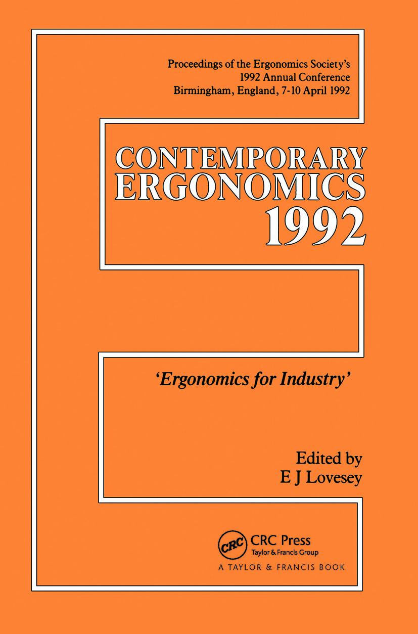Contemporary Ergonomics: Ergonomics For Industry book cover